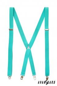 Herren Hosenträger X-Form 4-Clip-Halterung, Mint-Blau