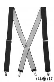 Schwarze Hosenträger X-Form 4-Clip-Halterung