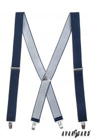 Dunkelblaue Hosenträger in X-Form 4-Clip-Halterung