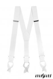 Weiße elastische Hosenträger mit weißem Leder und Lederschlaufen