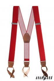 Rote Hosenträger mit Lederschlaufen