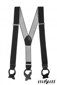 Hosenträger mit Lederschlaufen schwarz