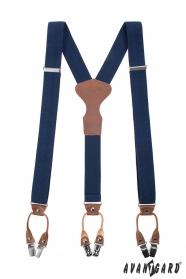 Blaue Hosenträger Y-Form mit Clips - Geschenkverpackung
