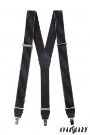 Schwarz gemusterte Herren Hosenträger mit Metallclips