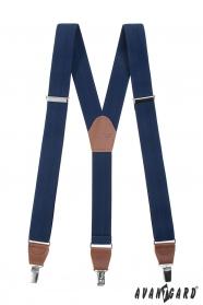 Blaue Hosenträger Y mit Ledermitte mit Clips - plastische Striche