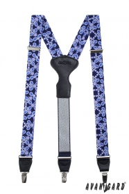 Blau gemusterte Männer Hosenträger mit Metallclips
