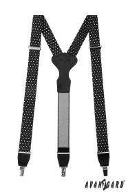 Schwarze Stoffhosenträger mit weißen Tupfen, schwarzem Leder und Metallclips