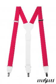 Rot-weiße gepunktete Hosenträger mit Metallclips und weißem Leder
