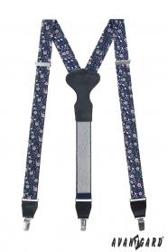 Blaue Hosenträger mit rosa Blüten, schwarzem Leder, Metallclips