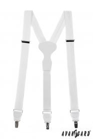 Weiße strukturierte Hosenträger mit weißem Leder und Metallclips