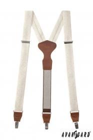 Hosenträger mit glänzendem Muster und braunem Leder in einer Geschenkbox