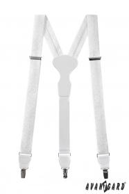 Weiß gemusterte Hosenträger mit weißem Leder und Metallclips