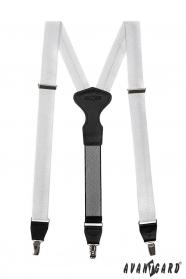 Weiße Hosenträger mit Clips silberne Quadrate