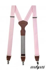 Rosa Stoff-Hosenträger mit Ledermitte und Clips - dunkelbraunes Leder