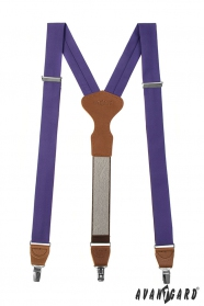 Stoffhosenträfer Y-Form mit Ledermitte, dunkelbraunes Leder