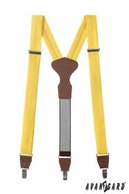 Herren gelbe Hosenträger mit braunem Leder und Metallclips
