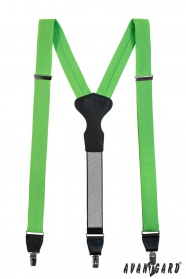 Grüne Hosenträger mit Leder und Clips in Geschenkbox