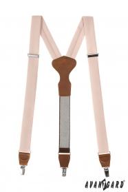 Elfenbein, Hosenträger mit braunem Leder und Metallclips