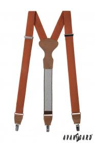 Stoff Hosenträger mit braunem Leder und Metallclips, zimtfarben