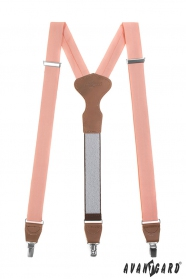 Lachsrosa Stoff Hosenträger mit braunem Leder und Metallclips