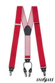Rote Hosenträger mit schwarzen Accessoires und Metallklammern