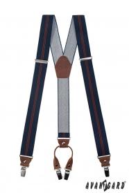 Dunkelblaue Hosenträger mit Streifen, braunes Leder und Metallclips