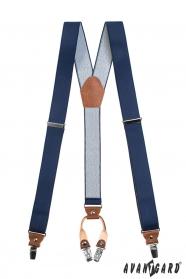 Blaue Herren Y-förmige Hosenträger mit dunkelbraunem Leder und 4-Clips