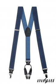 Blaue (Jeans) Hosenträger, dunkelblaus Leder und Metallclips