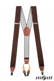 Herren braune Hosenträger mit braunem Leder und Metallclips