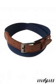 Elastischer Herrengürtel blau mit braunem Leder