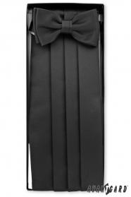 Schwarzer Frack-Gürtel mit Fliege und Einstecktuch