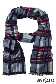 Schal mit blauen und roten Streifen