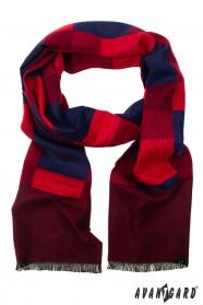 Herrenschal mit rot-blauem Muster