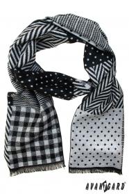 Schwarzgrauer Schal mit verschiedenen Mustern