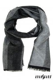 Schwarzgrauer Schal mit Zickzackmuster