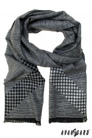 Grauer Schal mit schwarzem Muster