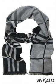 Schwarzgrauer Schal mit Streifen