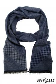 Blauer Schal mit Grautönen