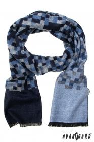 Schal mit blaugrauem Schachbrettmuster