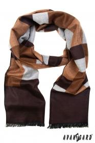 Schal mit braunem und beigem Muster