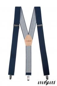 Dunkelblaue Y-Hosenträger mit Ledermitte - 35 mm