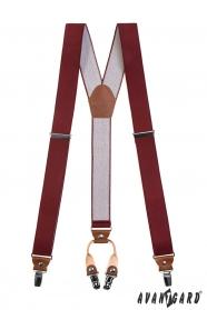 Bordeaux Hosenträger, braunes Leder 4 Metallclips