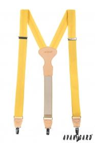 Gelbe Dreipunkt-Hosenträger mit beiges Leder und Clipverschluss