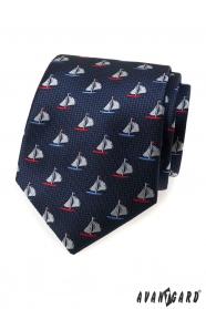 Kék nyakkendő, színes vitorlás