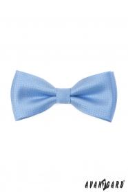Blaue Fliege mit glänzendem Muster + Einstecktuch