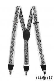 Musik Hosenträger mit schwarzem Leder und Metallclips in Geschenkbox
