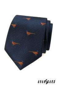 Blaue Krawatte mit Fasanenmuster