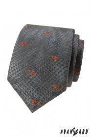 Graue Krawatte, Fasanenmuster