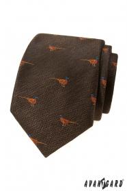 Braune Krawatte, Fasanenmuster