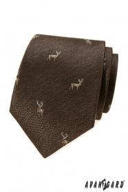 Braune Krawatte mit  Hirsch